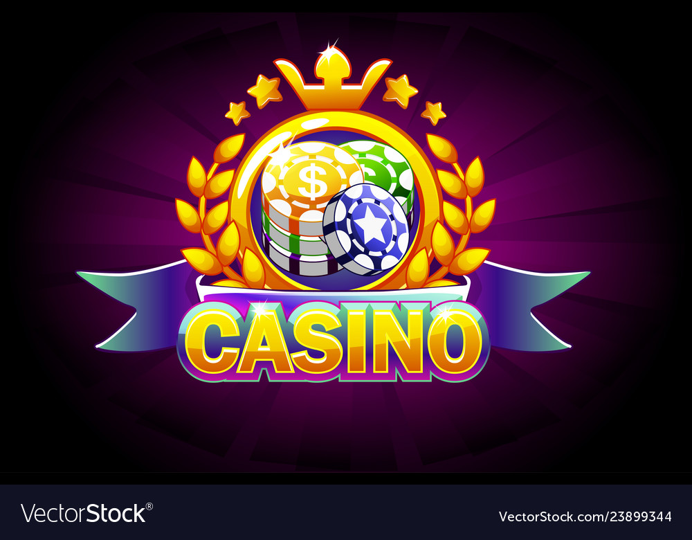Casino banner with ribbon icon and text