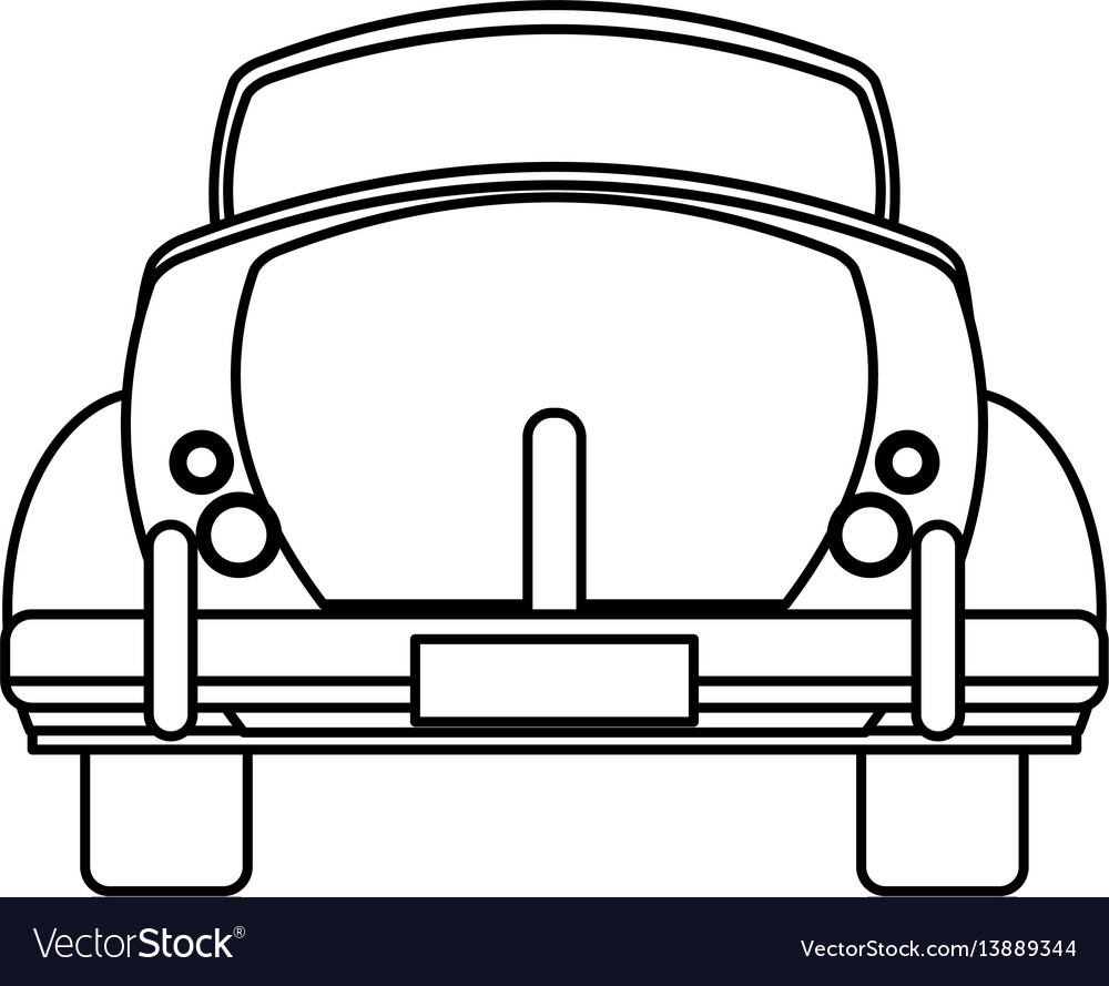 Classic car travel image outline vector image