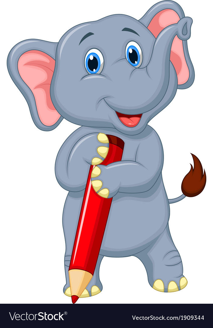 Cute elephant cartoon holding red pencil vector image