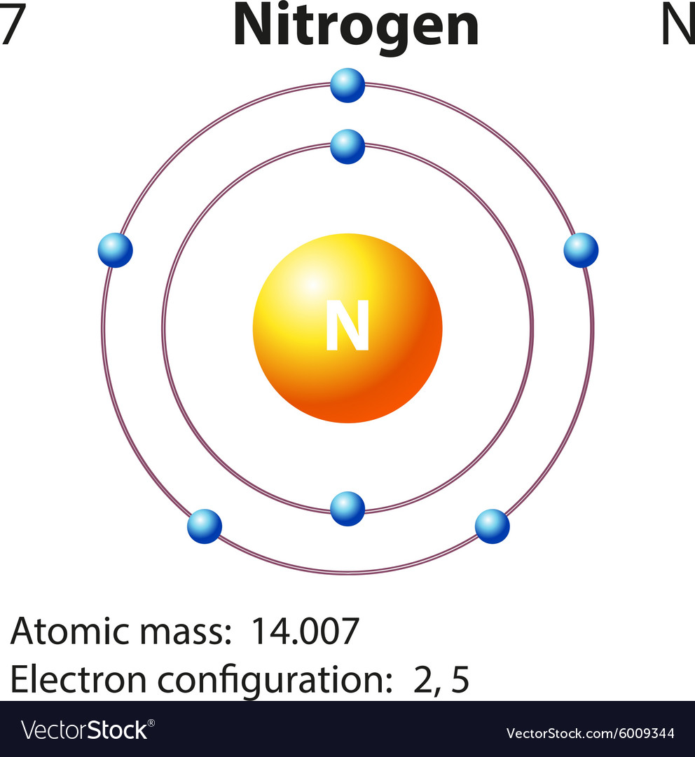 diagram representation of the element nitrogen vector image rh vectorstock com diagram for pure element lewis diagram for elements