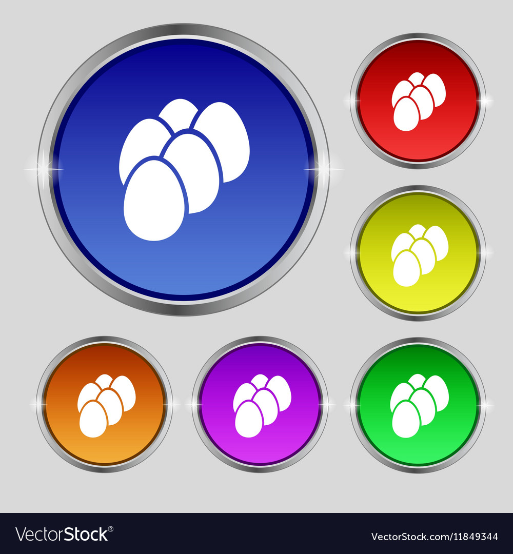 Eggs icon sign Round symbol on bright colourful vector image