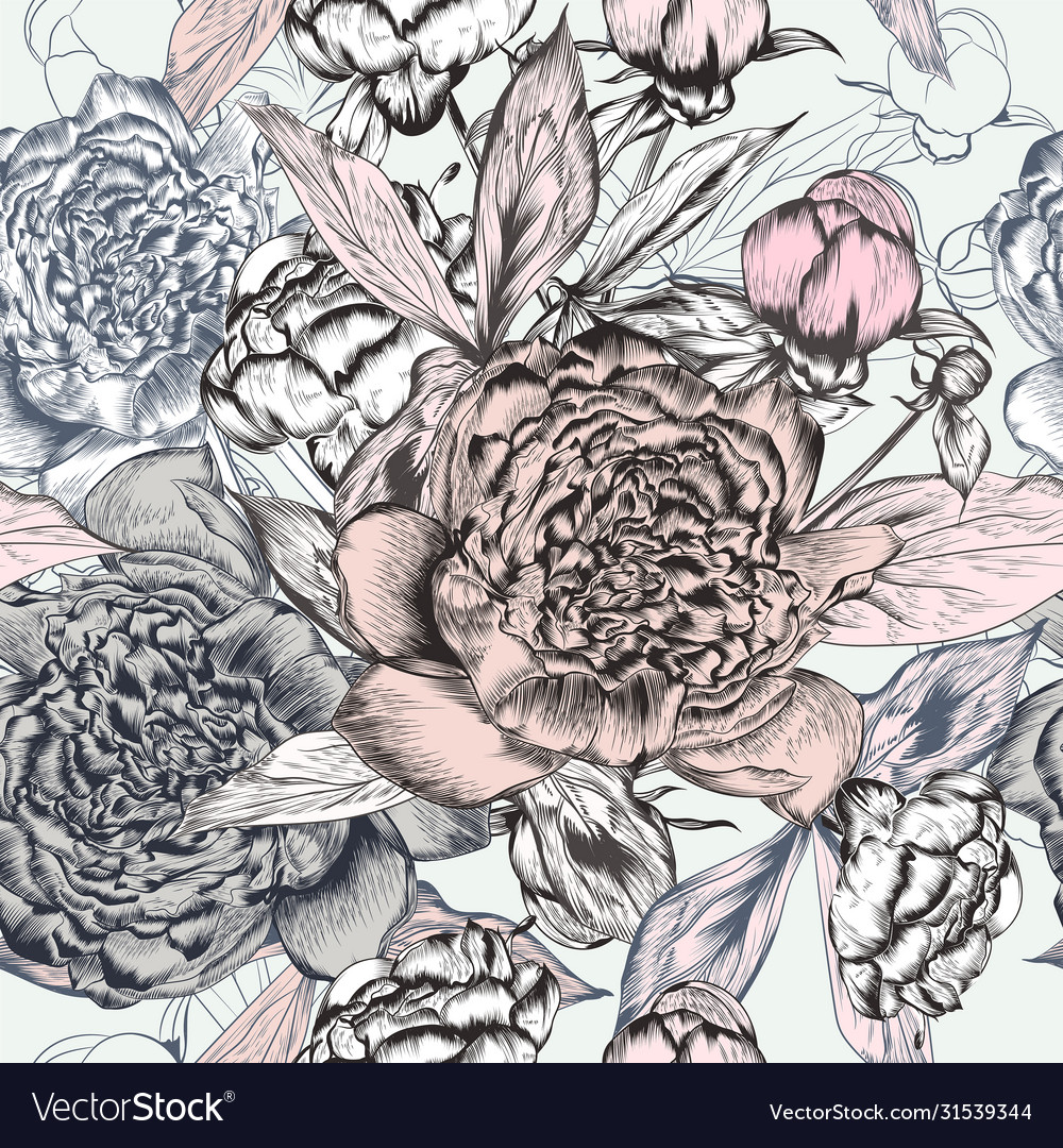 Fashion seamless pattern with hand drawn peony