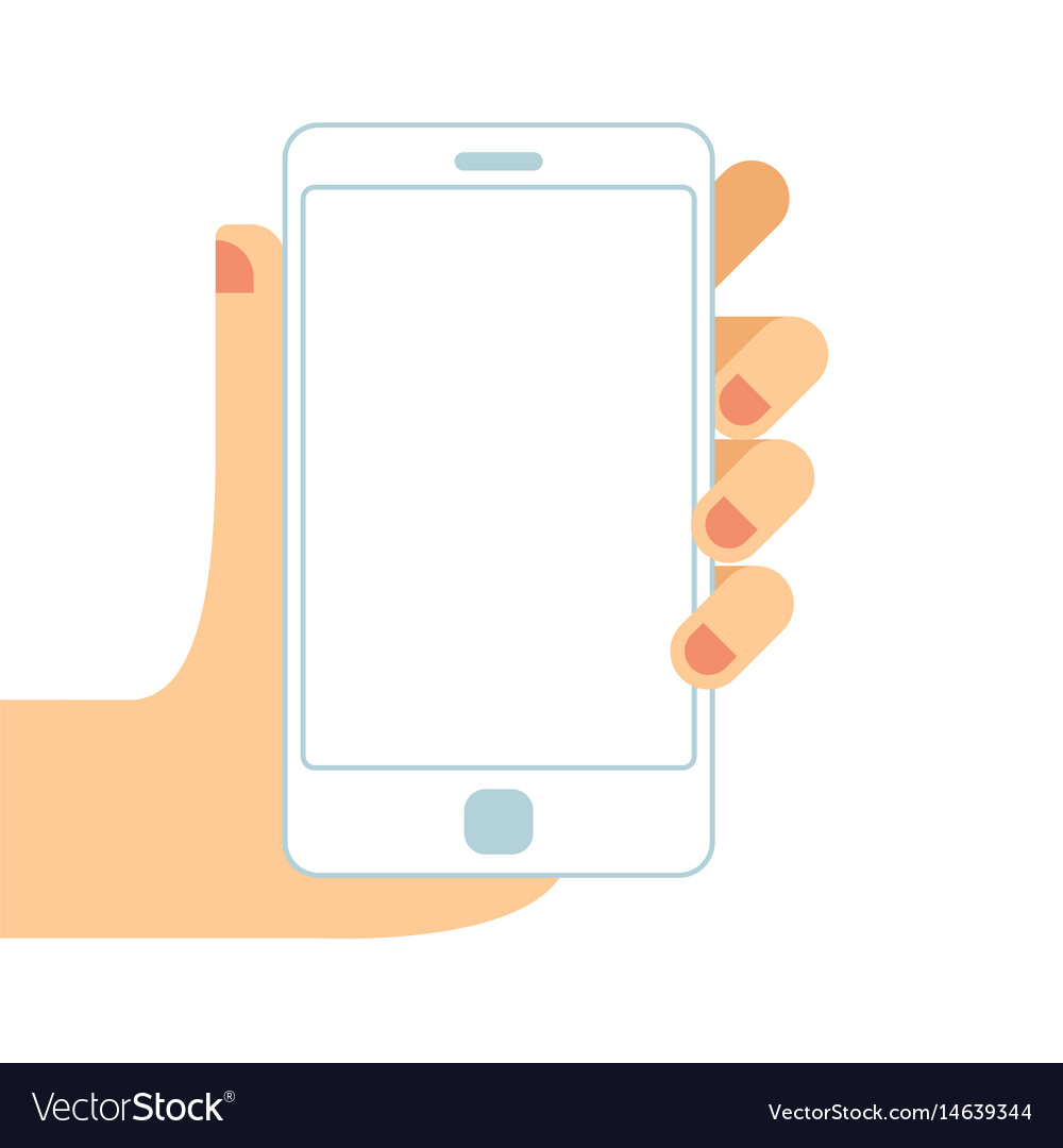 Hand holding white smartphone touching blank