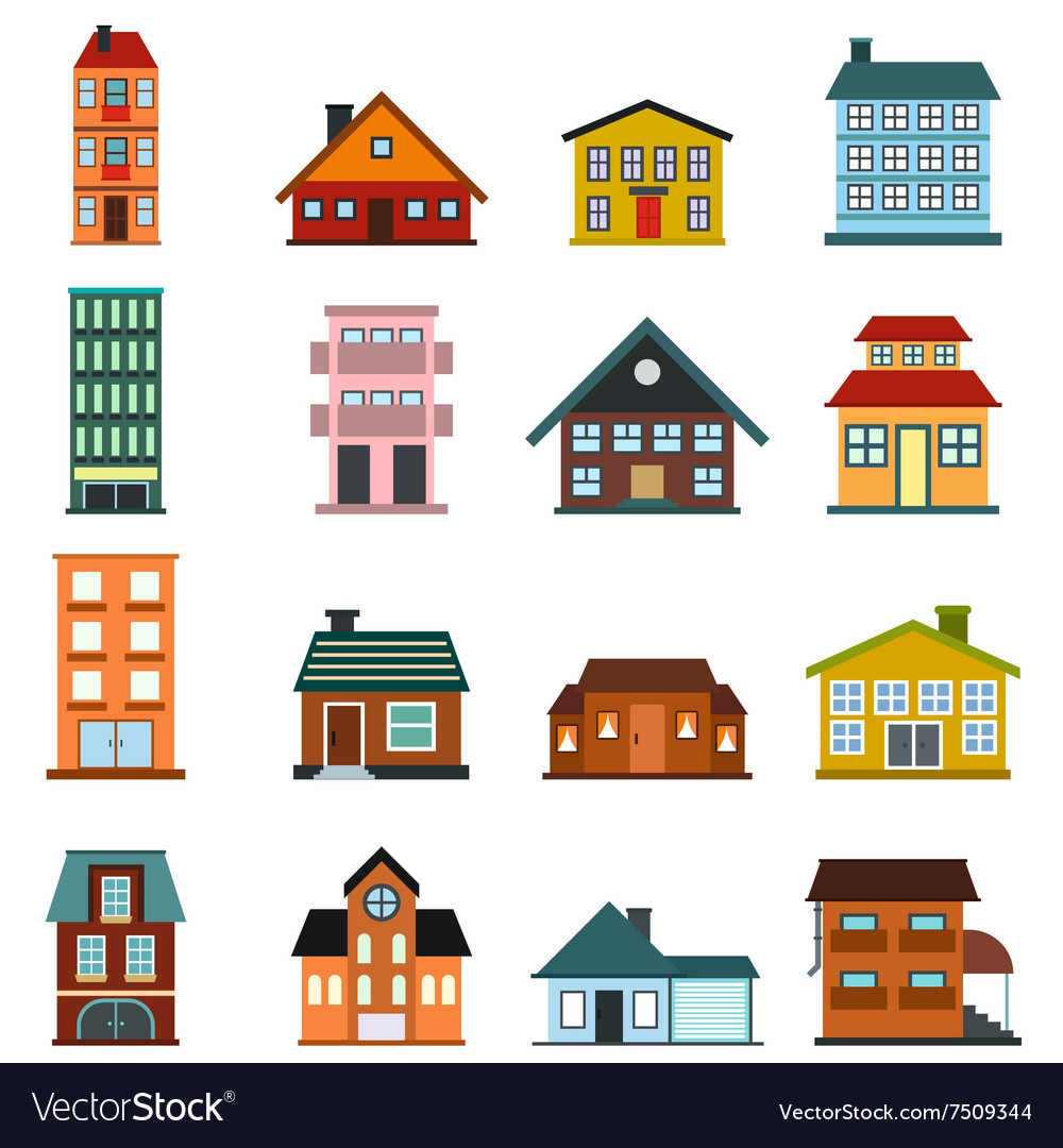 Houses flat icons set