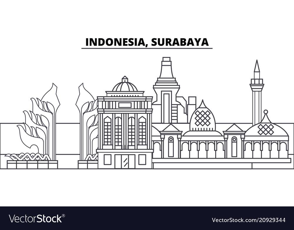 Indonesia surabaya line skyline
