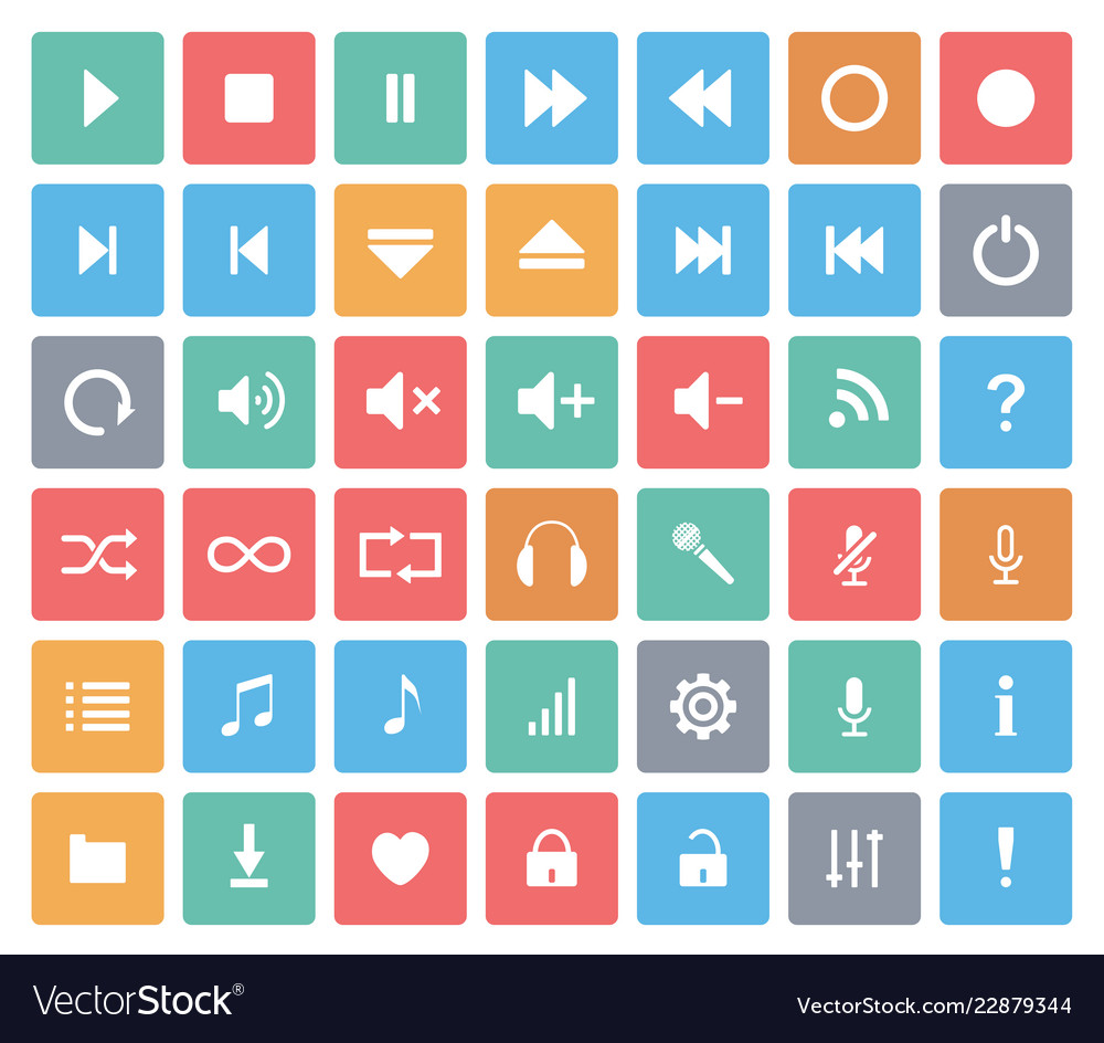 Media player color icons set