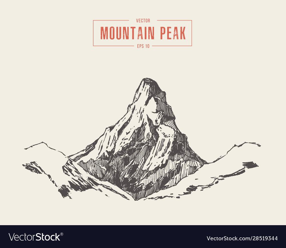 Mountain peak engraving style hand drawn