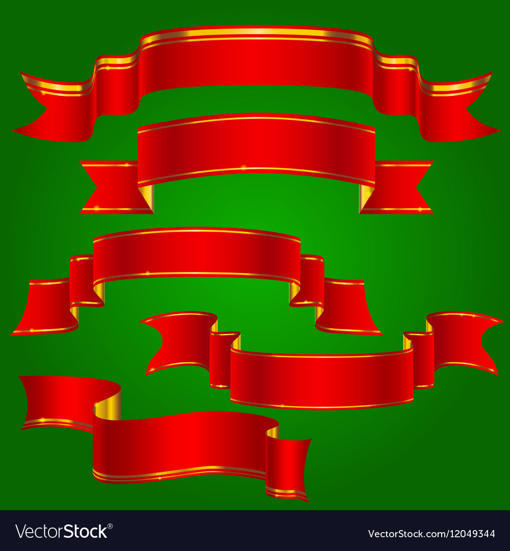 Red ribbons with golden stripes set