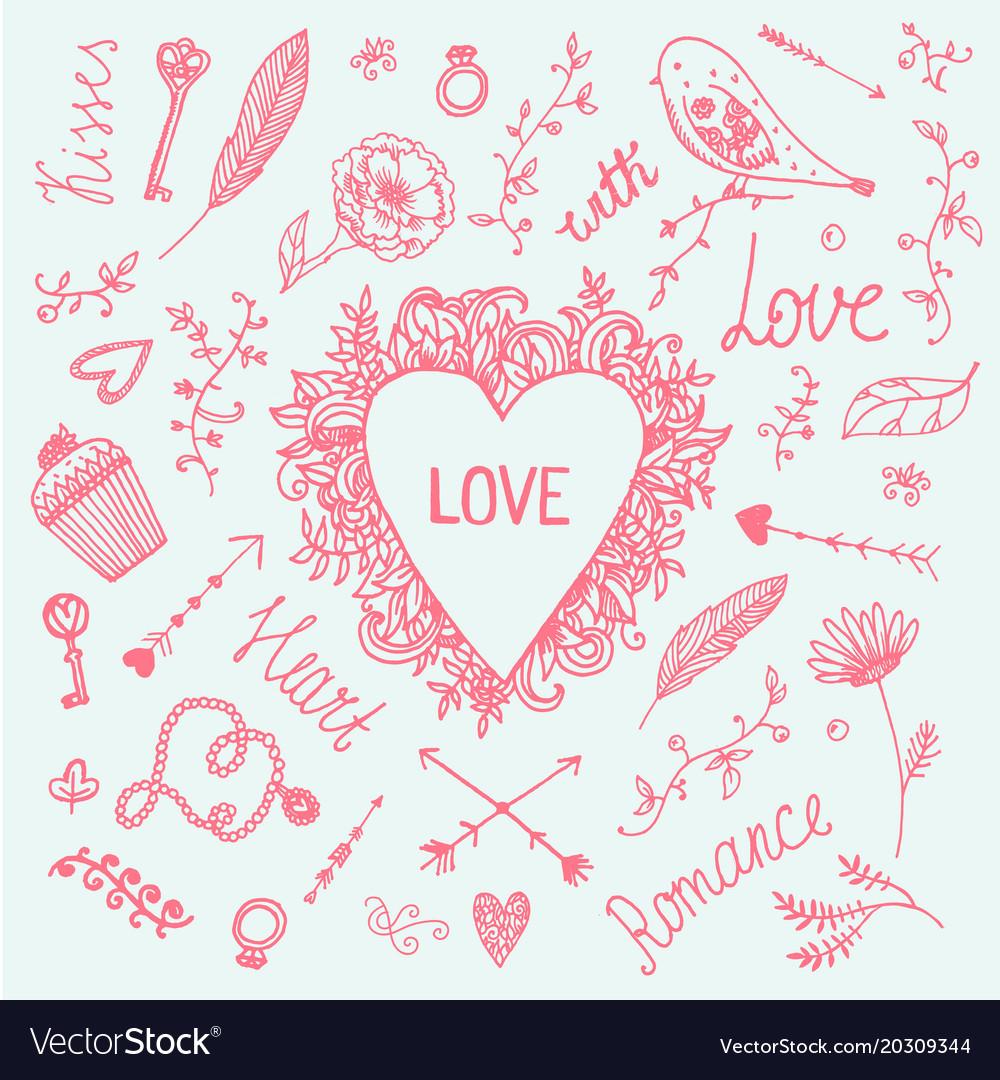 Romantic set love vintage