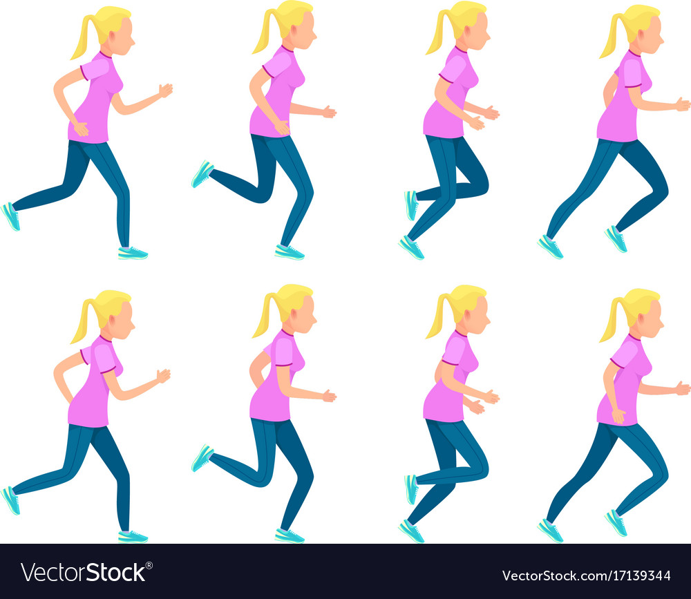 Set of running girl variety of sport movements