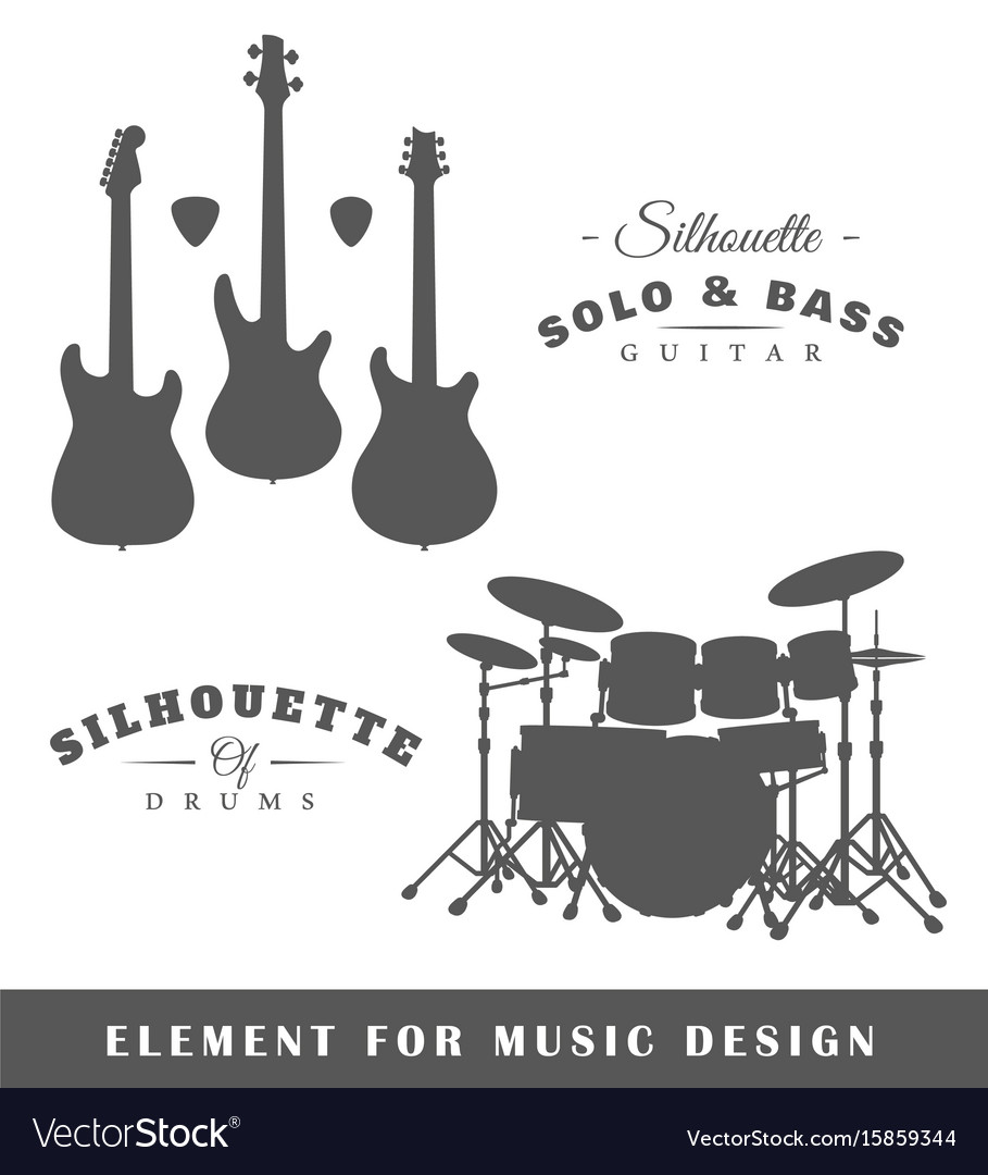 Silhouettes of guitars and drums