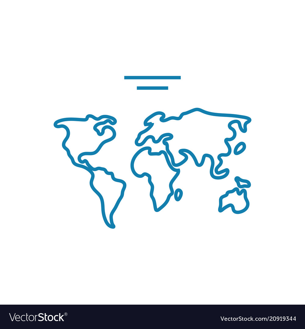 World map linear icon concept world map line