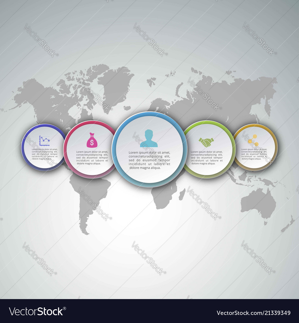 5 steps of infographic with purple pink blue