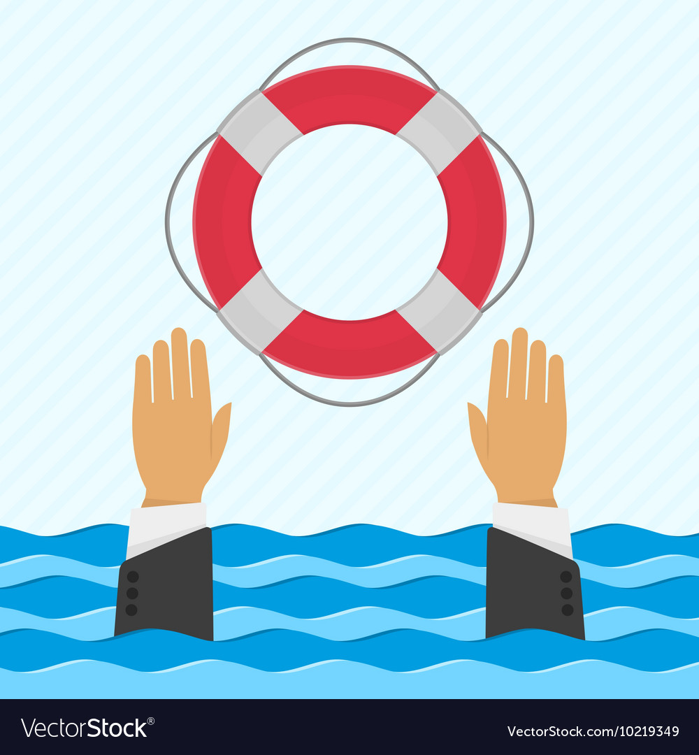Background with hand and lifebuoy