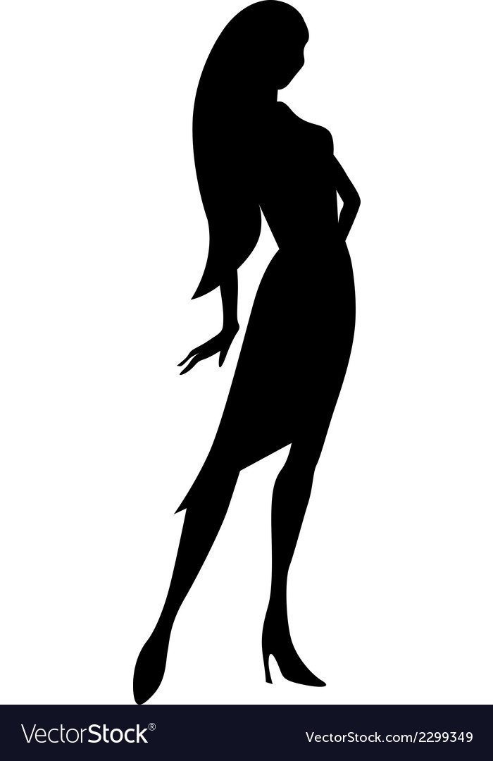 Black Young Woman Silhouette Royalty Free Vector Image