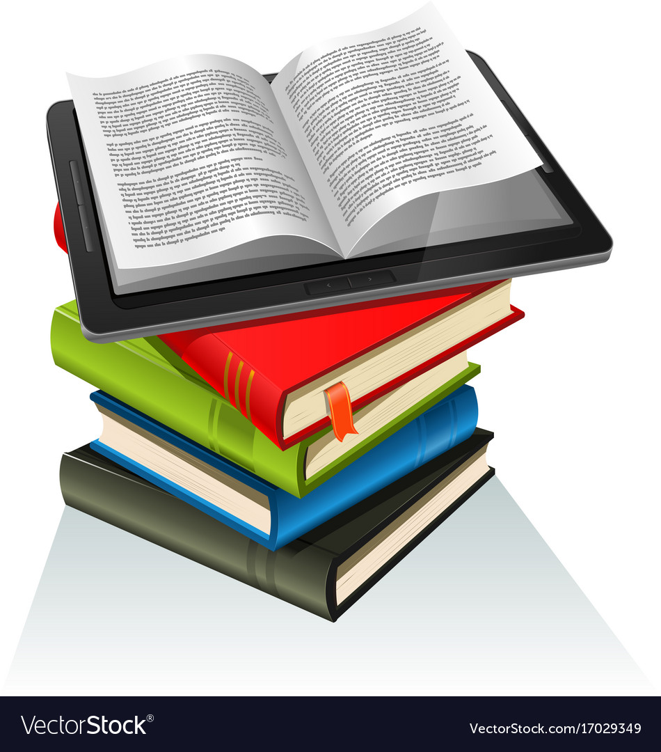 book stack and tablet pc royalty free vector image