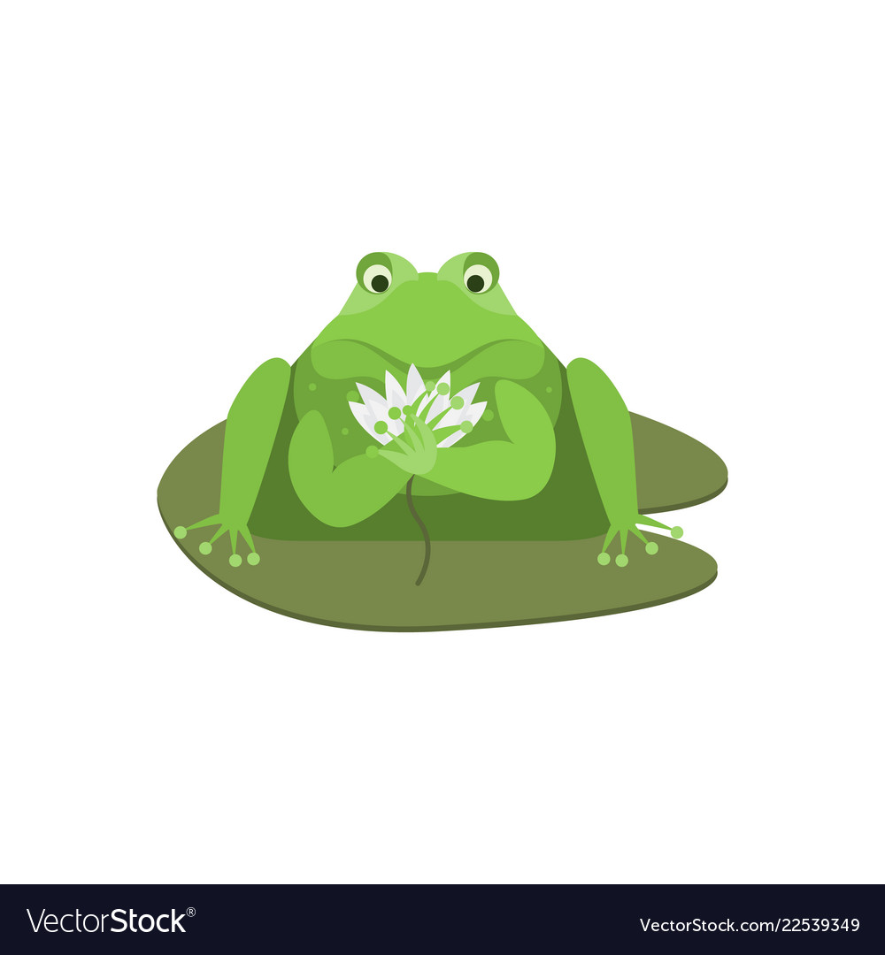 Cartoon cute green frog character with flower