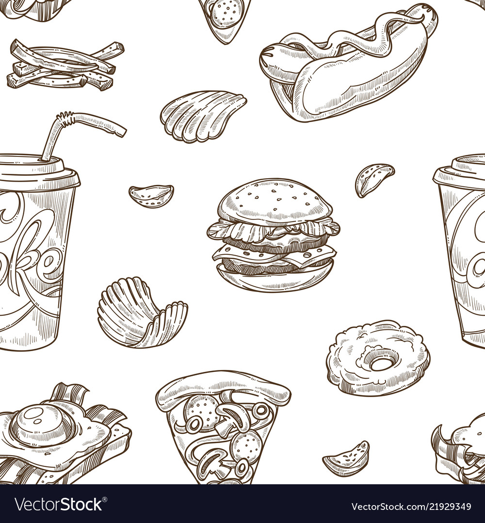Fast food burgers and soda drinks seamless pattern