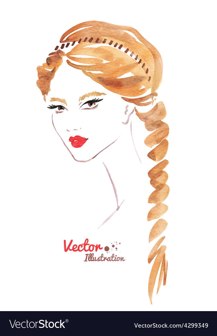 Female Face Braid Hairstyle Royalty Free Vector Image