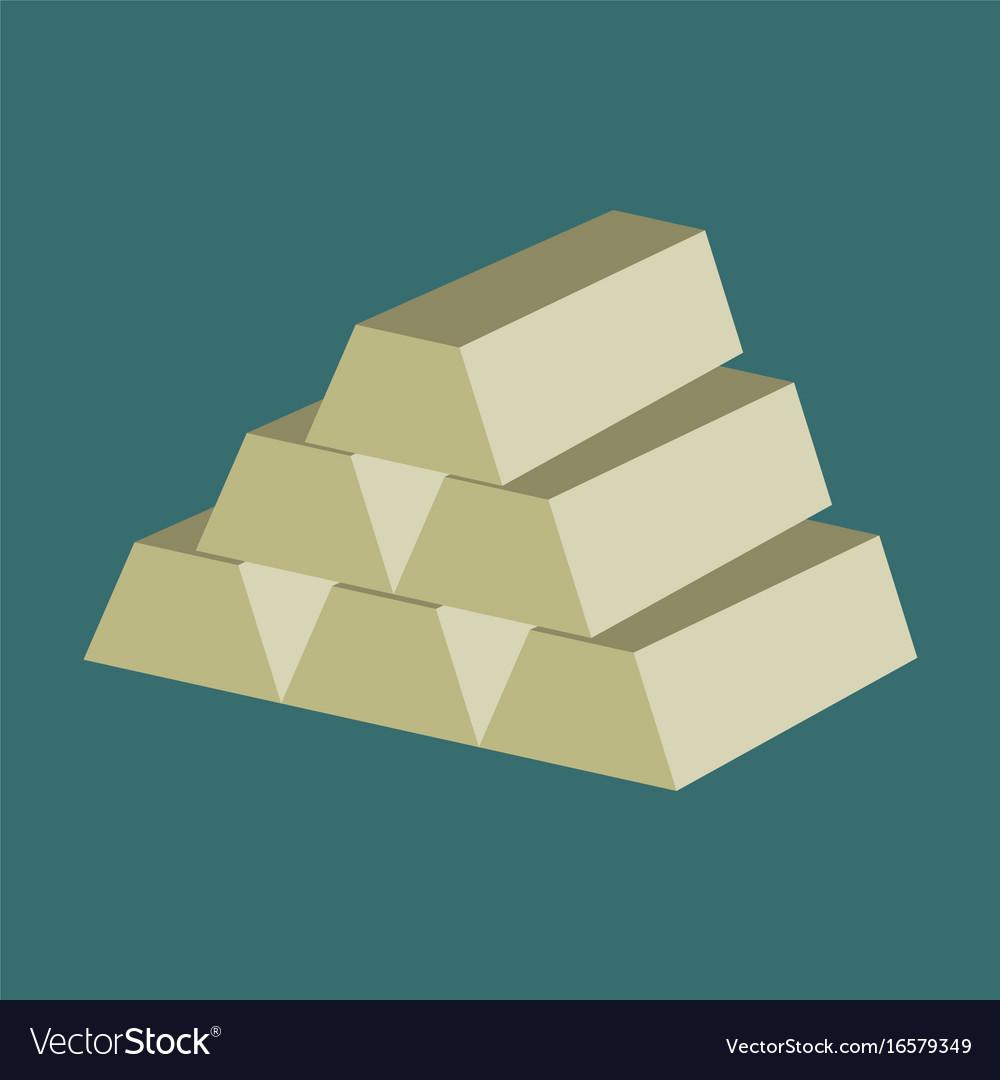 Flat icon on stylish background gold bars
