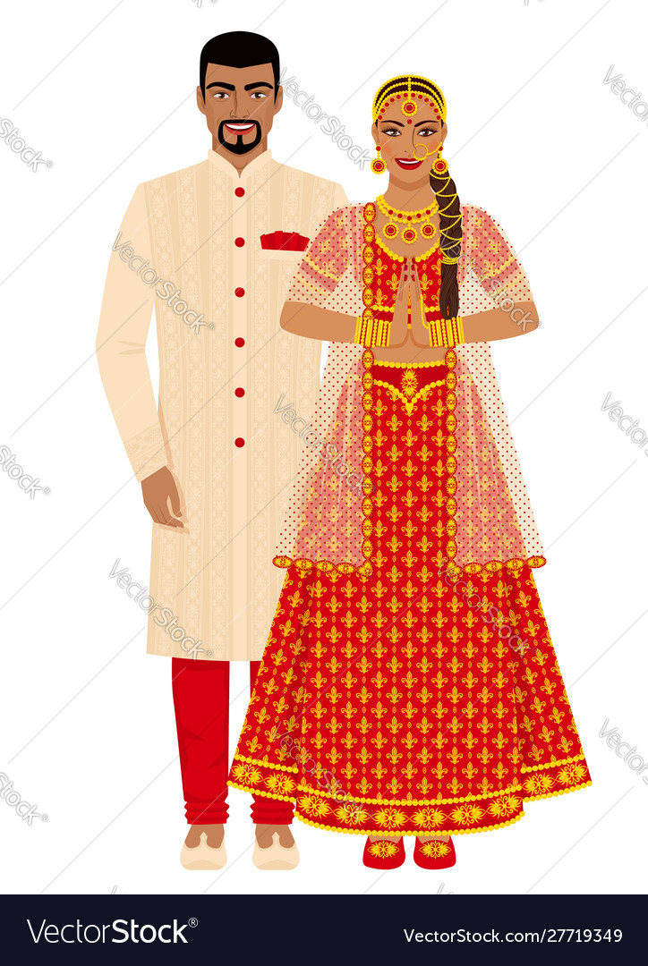 Indian wedding couple in traditional costumes