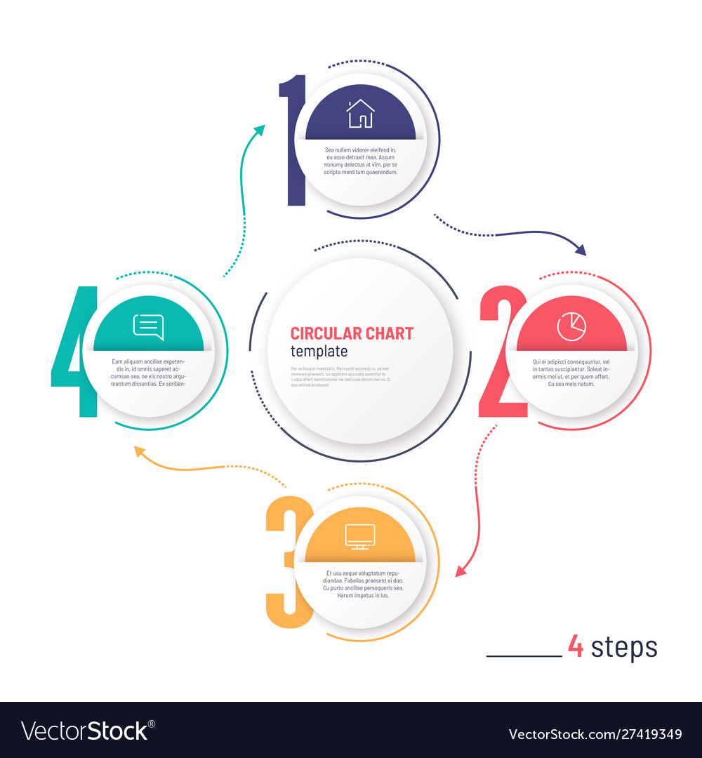 Infographic numbered process circular chart