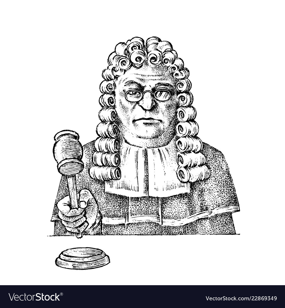 Judge man or magistrate with a hammer for justice
