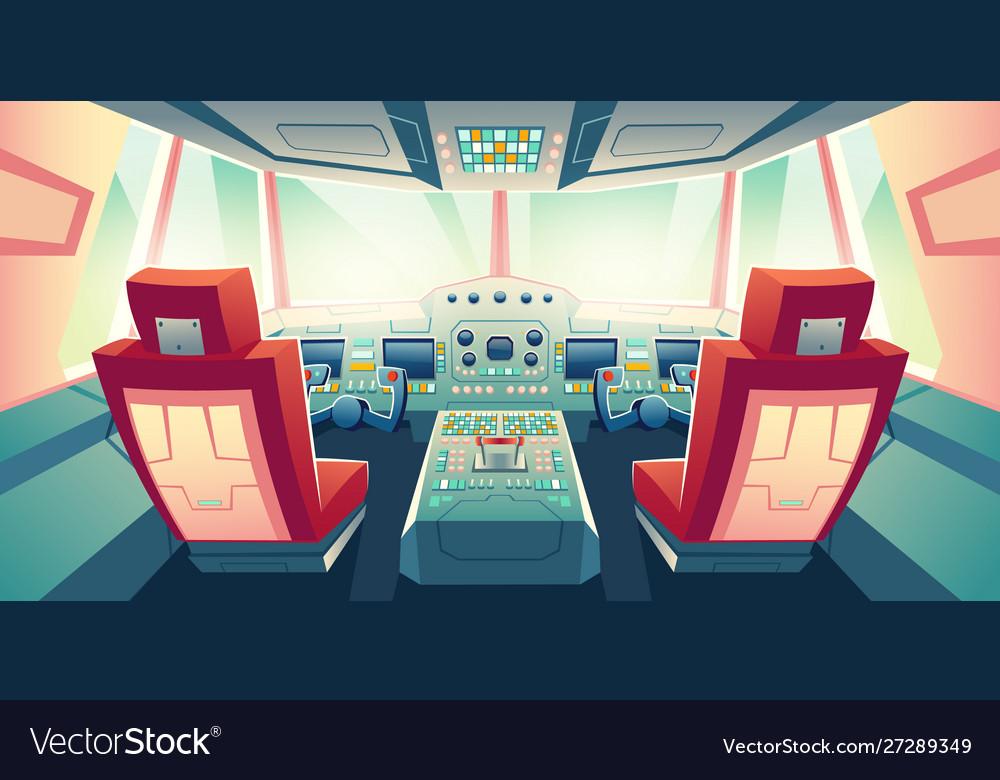 Modern business jet cockpit cartoon