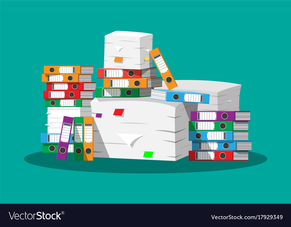 Pile of paper documents and file folders