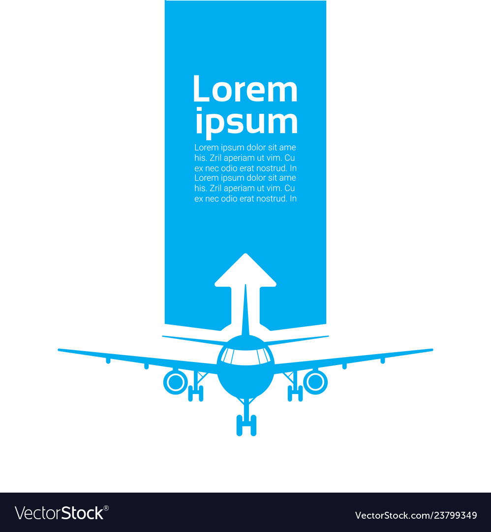 Plane silhouette over template blue background