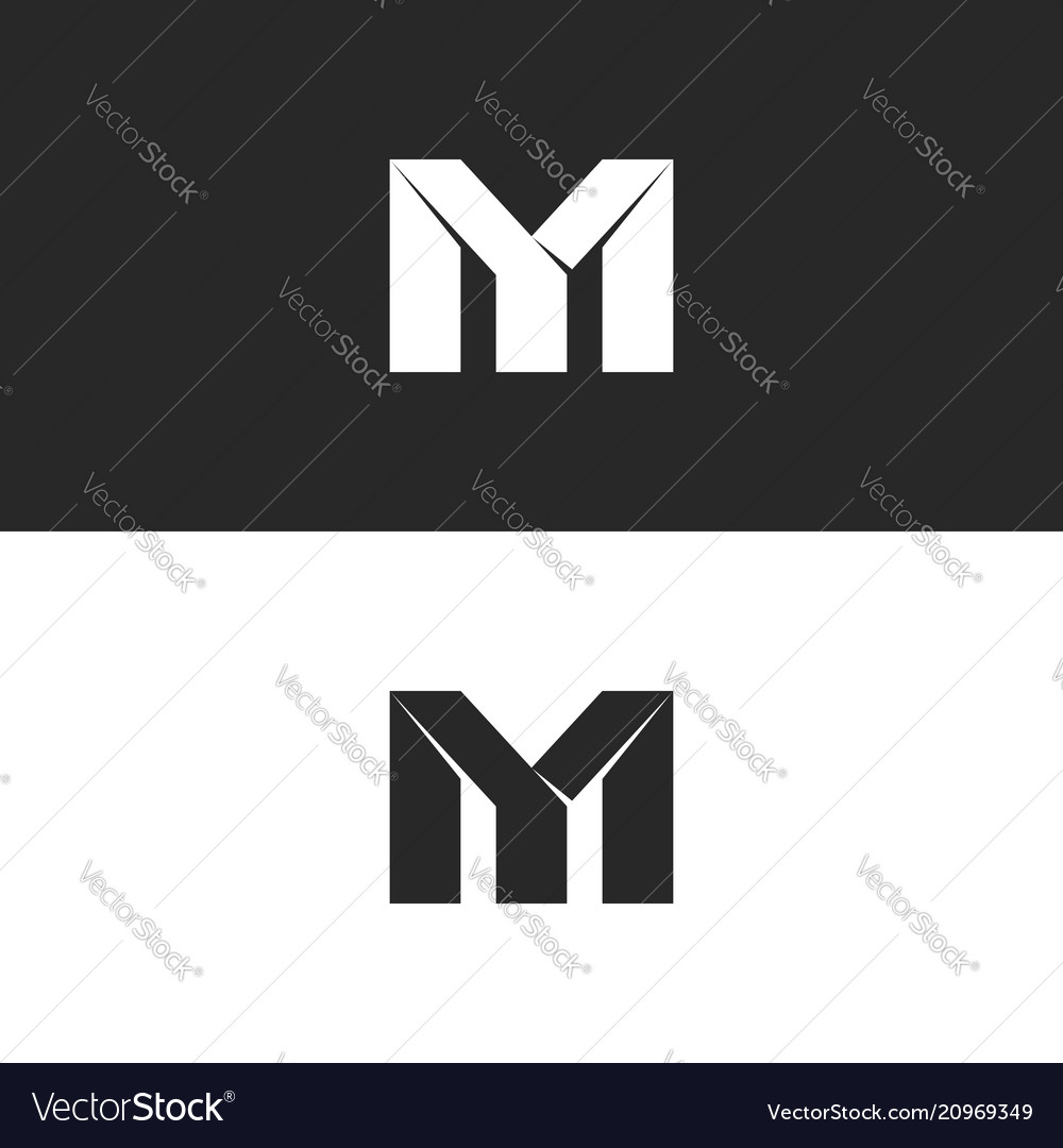 Two bold letters my monogram logo mockup black