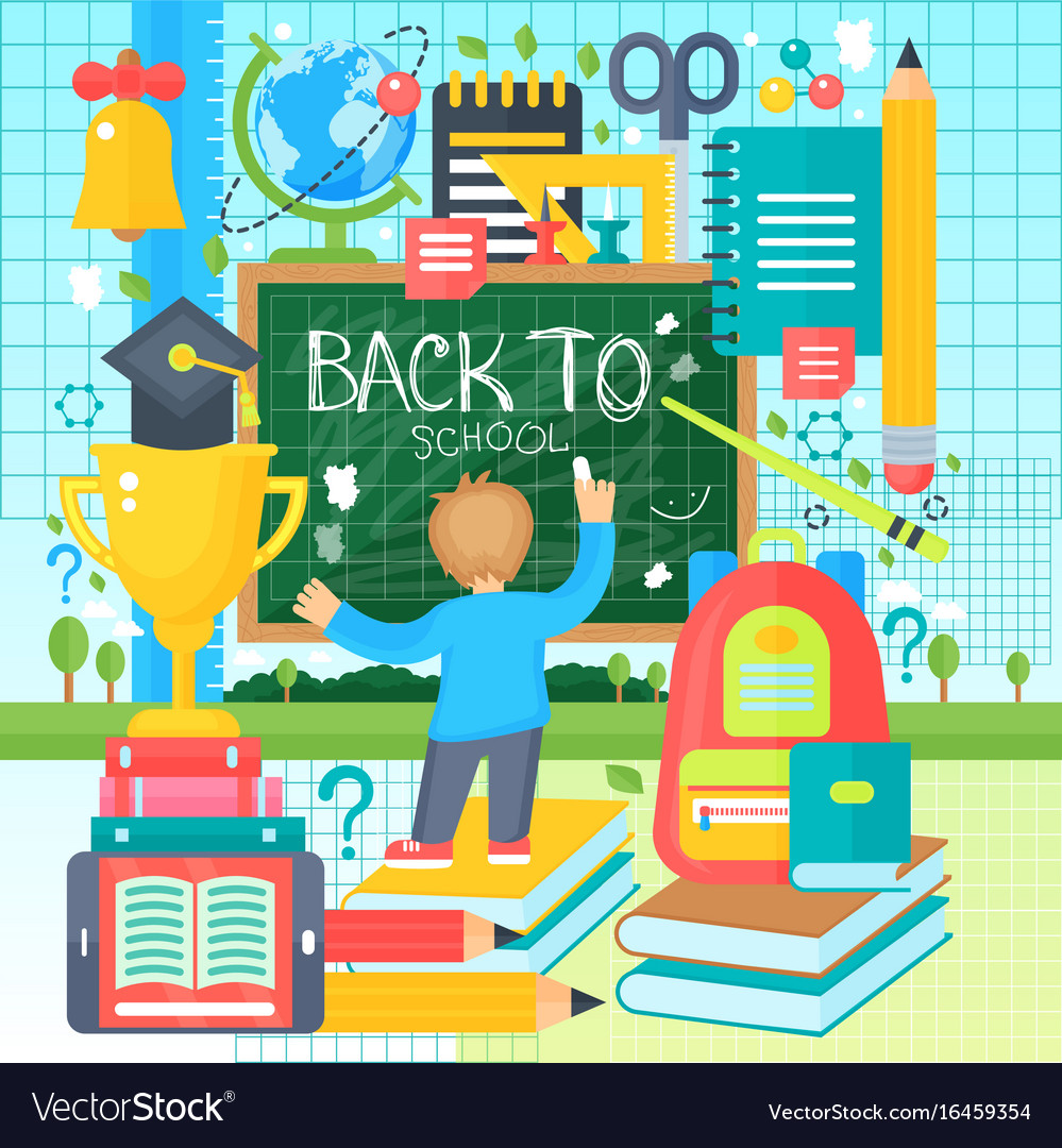 Back to school banner with boy drawing on the