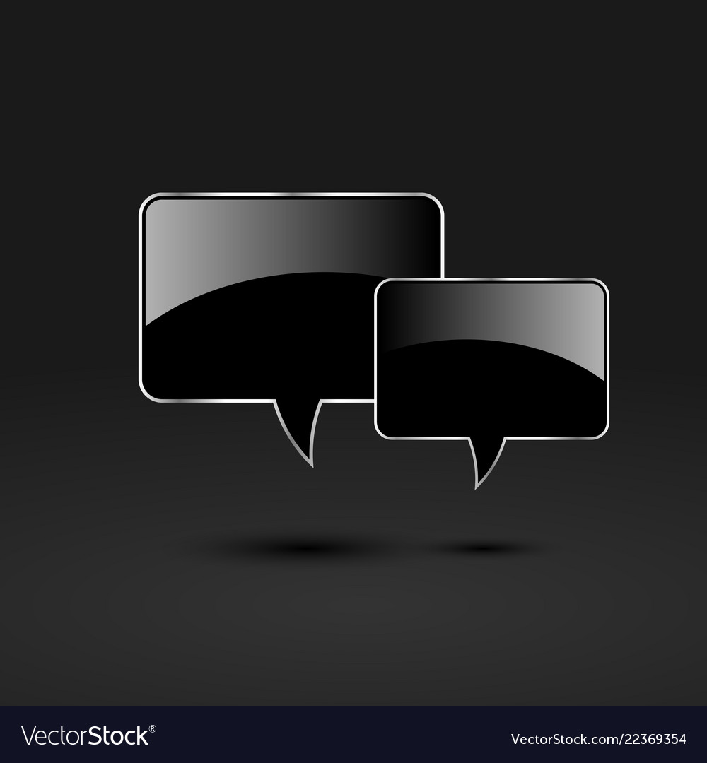 Black glossy glass speech bubbles