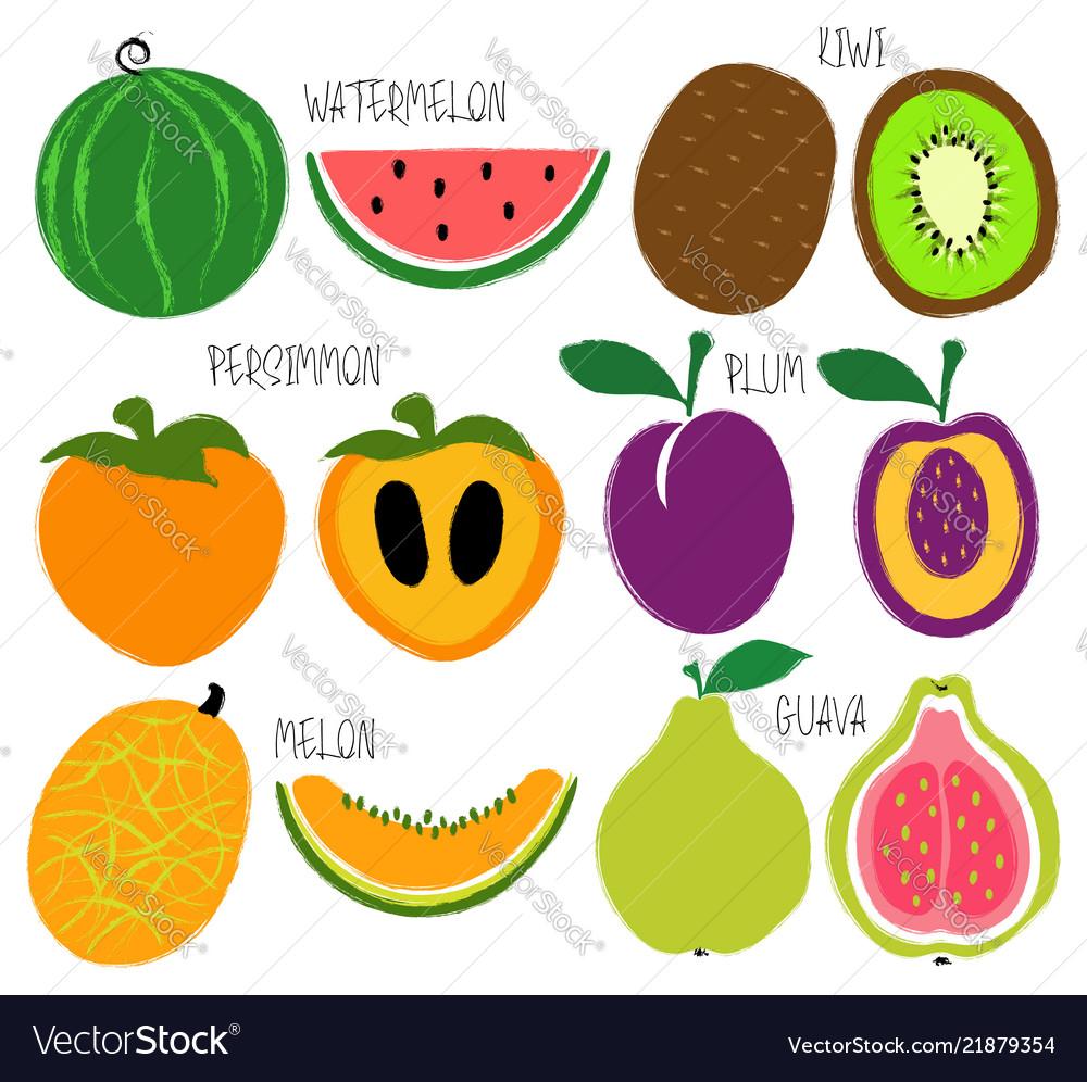 Brush grunge fruits icons set