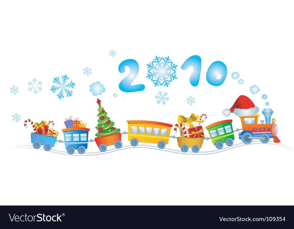 Christmas train 2010 vector image