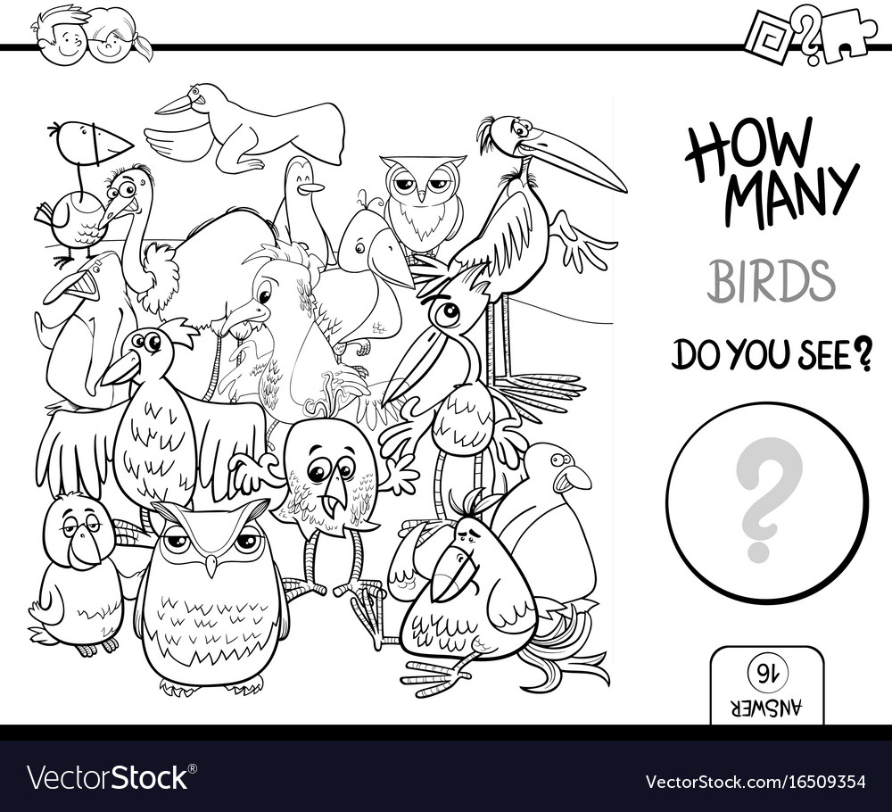 Counting birds coloring book activity Royalty Free Vector