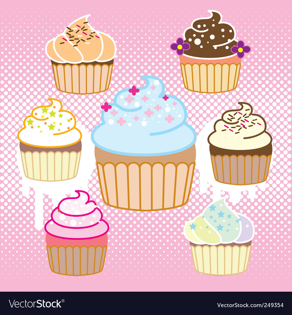 Cupcake with halftone vector image