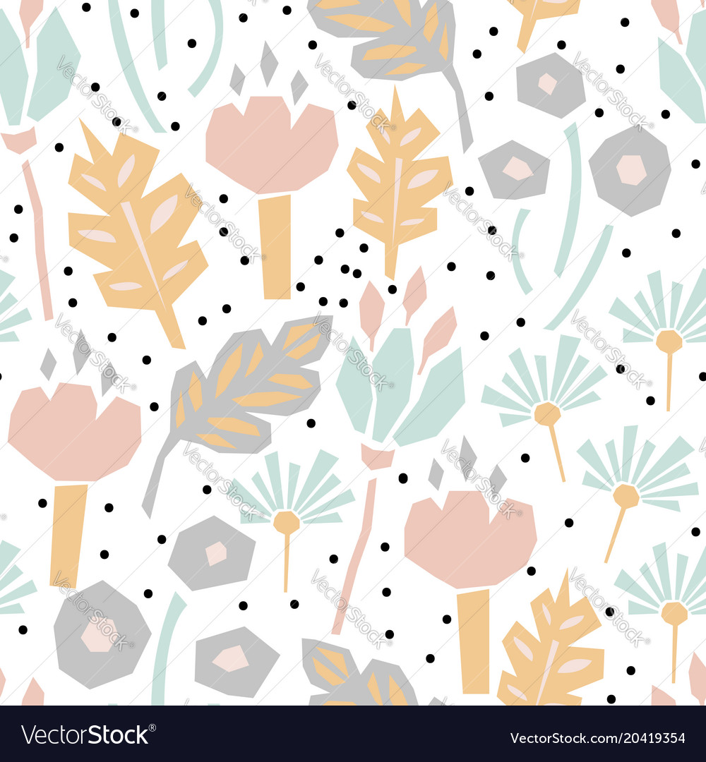 Cutout Paper Flower Seamless Pattern Royalty Free Vector