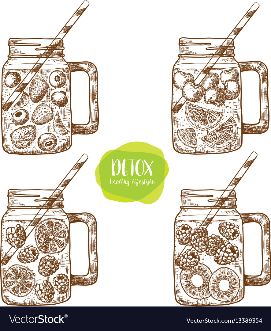 Detox water and drinks sketches of vegan food for