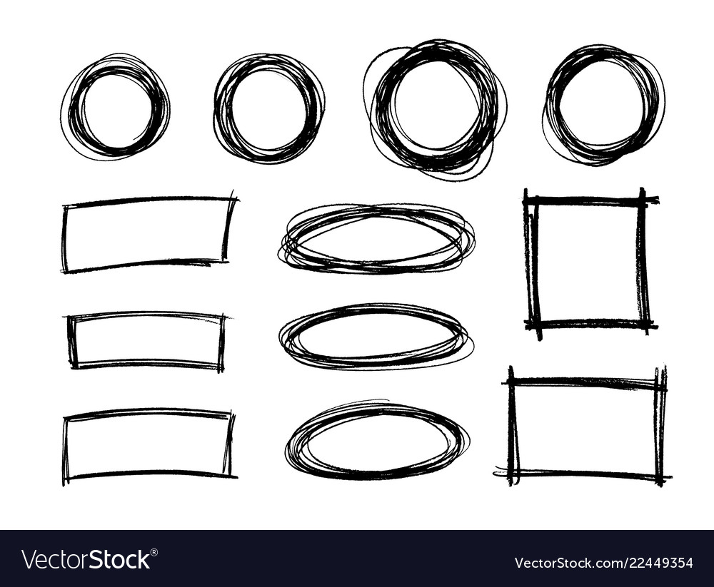 Hand drawn scribble circle shapes rectangle shape