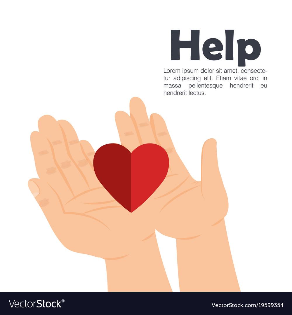Hands with heart help vector image