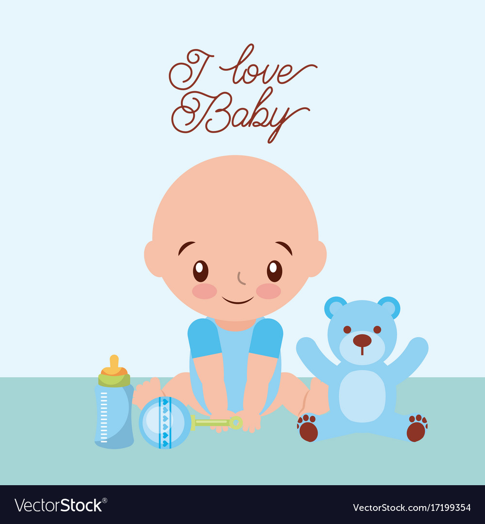 I love baby cute boy teddy rattler and bottle milk vector image