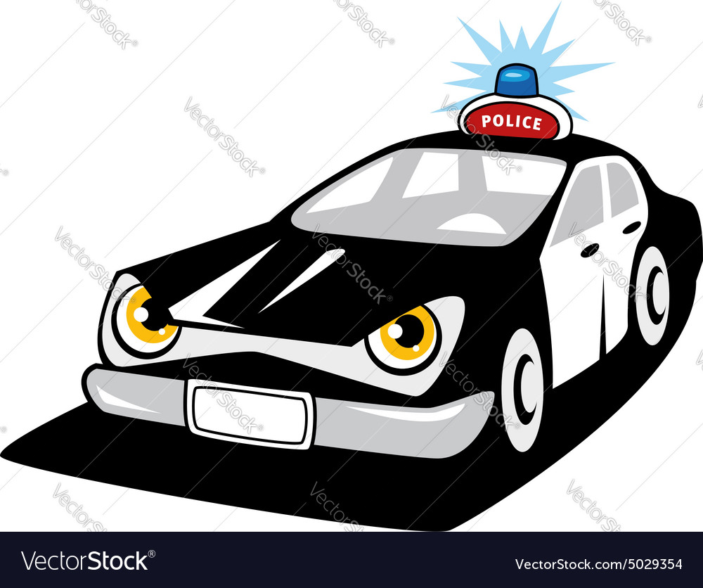 Police car cartoon character with flashing siren vector image