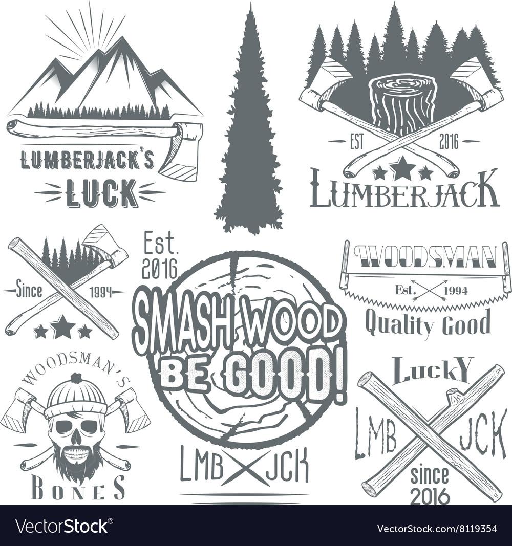 Set of lumberjack and woodsman
