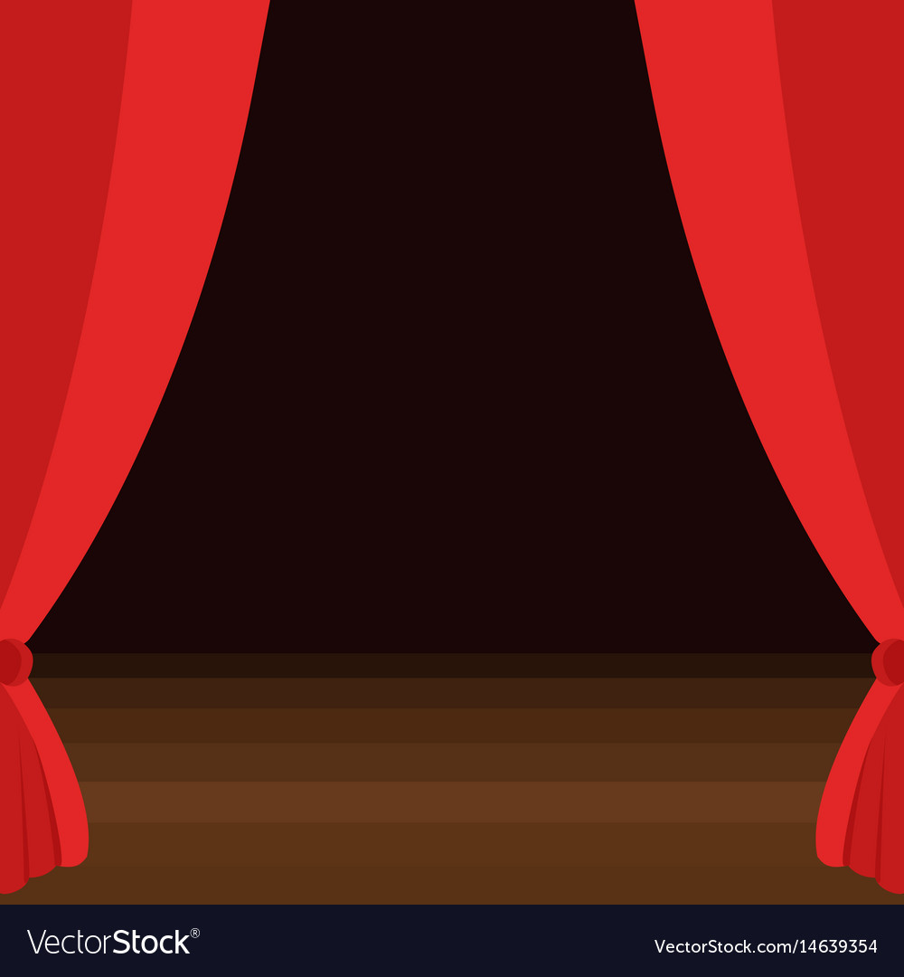 Stage curtains with brown wooden floor