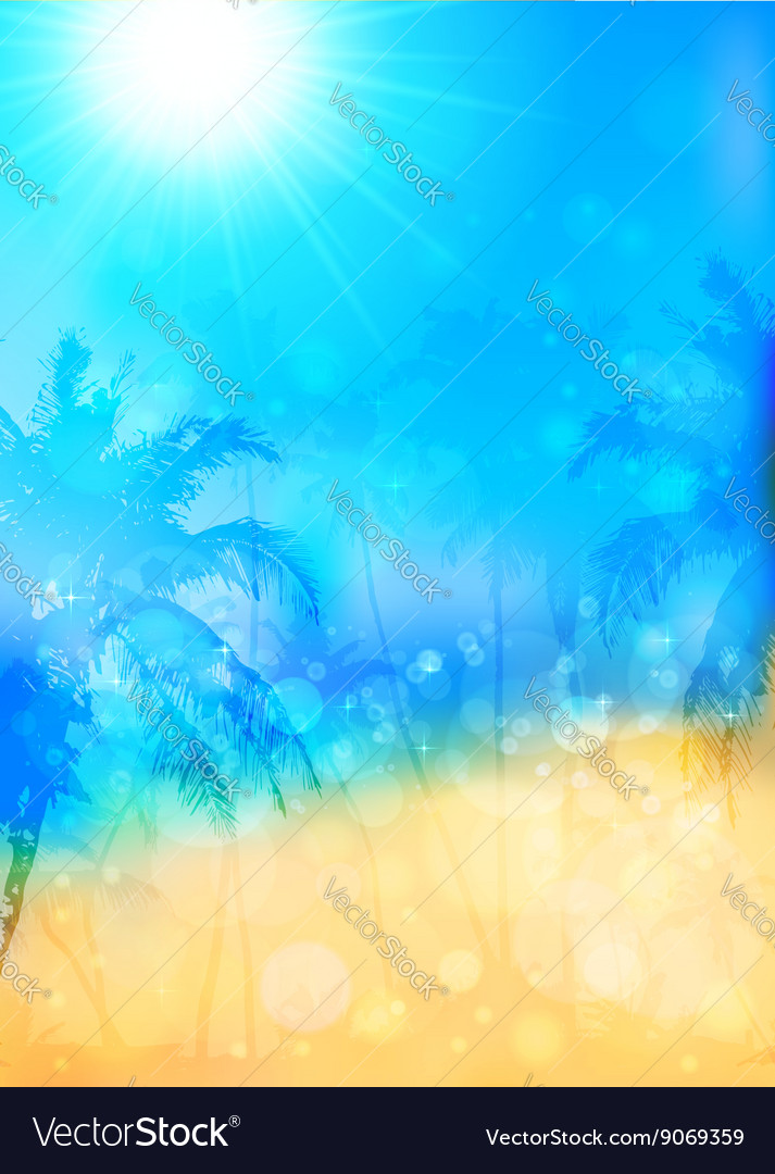 Blurred summer tropical background with palms