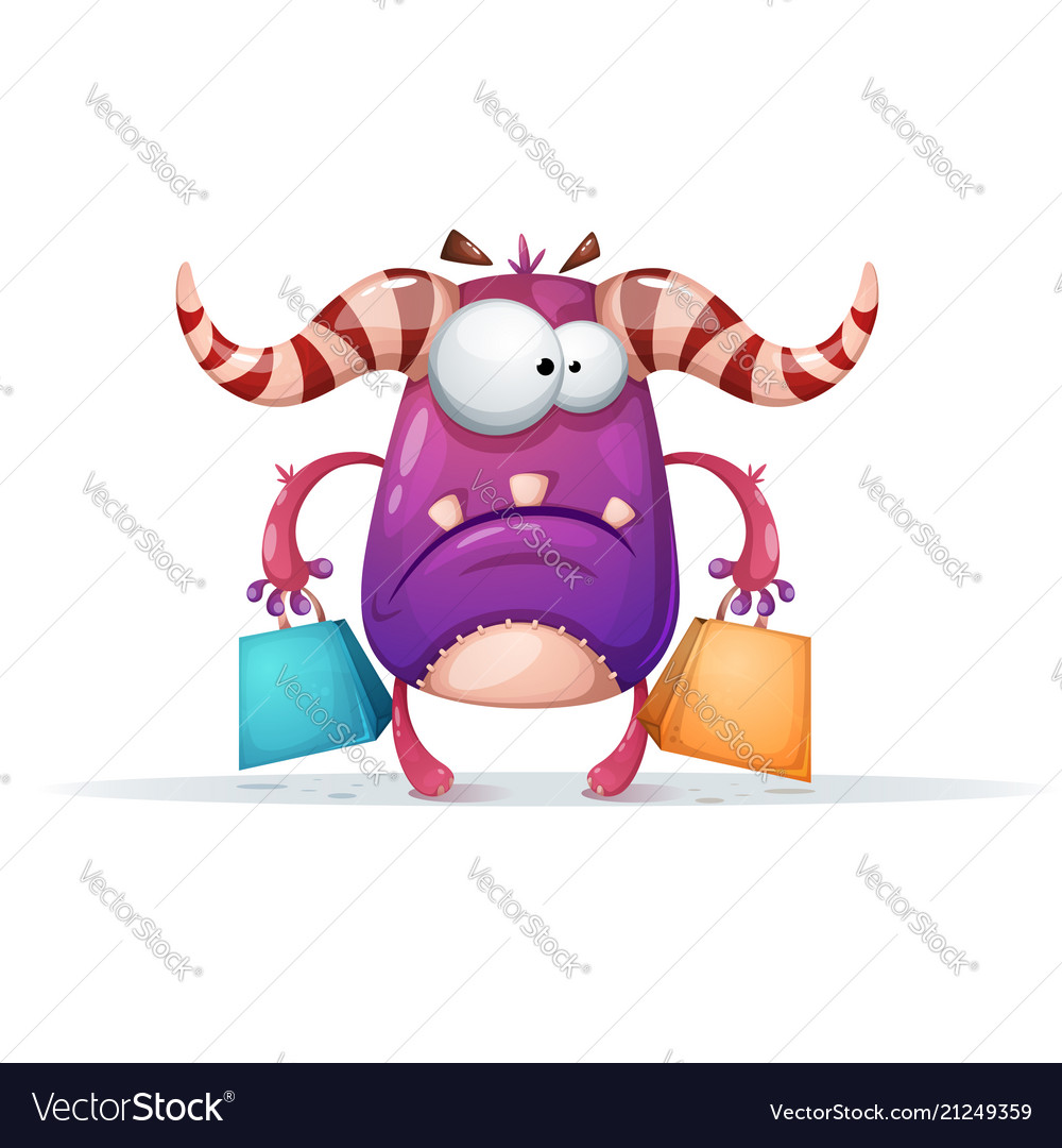 Cartoon monster characters shopping