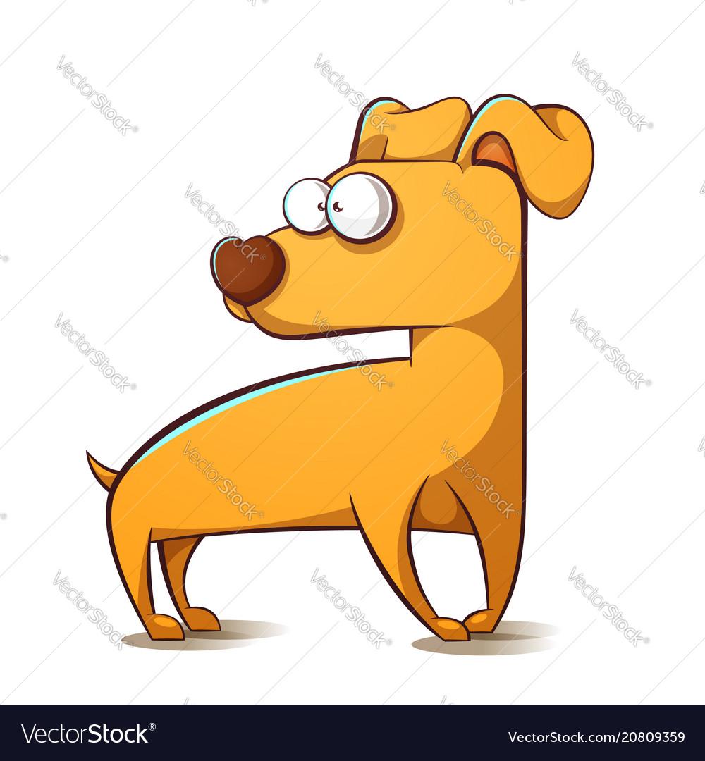 Cartoon yellow dog symbol of the year 2018