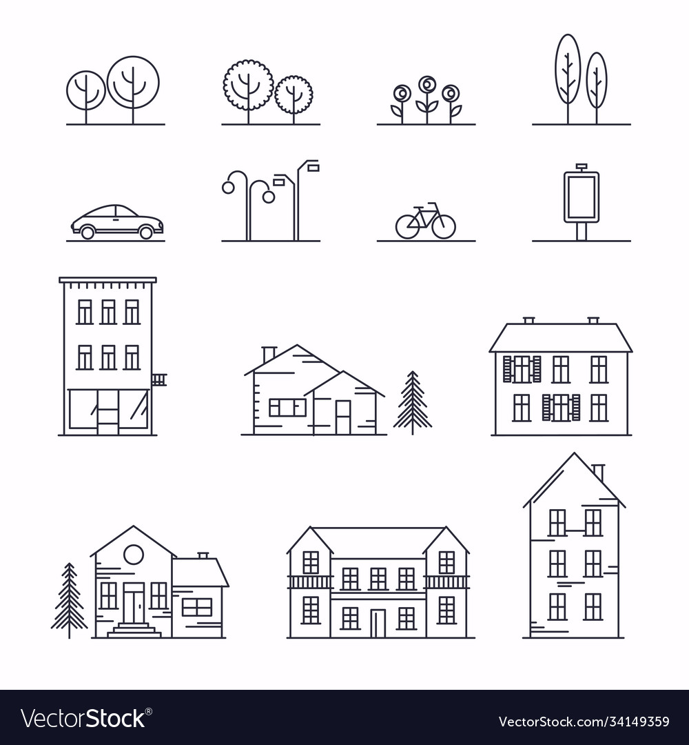 City in linear style icons and with buildings