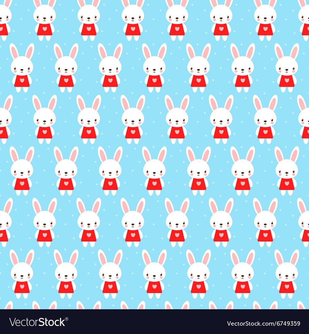 Cute childish seamless pattern with bunny